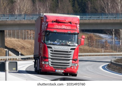 FUERTH / GERMANY - FEBRUARY 22, 2018: truck from a czech forwarder drives on german motorway