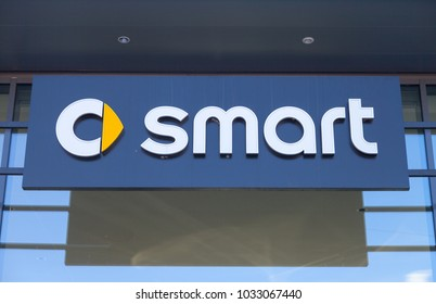 FUERTH / GERMANY - FEBRUARY 25, 2018: smart logo on a car dealer building. Smart is a German automotive marque and division of Daimler AG, based in Böblingen, Germany.