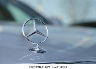 FUERTH / GERMANY - FEBRUARY 25, 2018: Mercedes-Benz symbol on a car. Mercedes-Benz is a global automobile marque and a division of the German company Daimler AG.