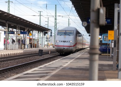 FUERTH / GERMANY - MARCH 11, 2018: ICE 2, intercity-Express train from Deutsche Bahn passes train station fuerth in germany.