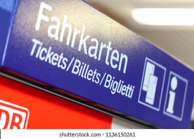 FUERTH / GERMANY - MARCH 11, 2018: Deutsche Bahn ticket machine stands on  train station in Fuerth, near Nuernberg. Deutsche Bahn AG (abbreviated as DB, DB AG or DBAG) is a German railway company.
