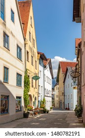 Fuessen, Germany - August 4, 2019: old historic town with half timbered houses and cobble stone roads in Fuessen, Germany.