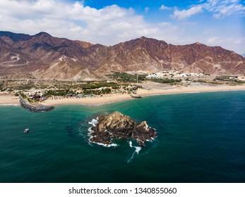 Fujairah sandy beach in the United Arab Emirates aerial view