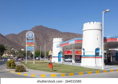 FUJAIRAH, UAE - DEC 14: ADNOC Petrol Station in Emirate of Fujairah. December 14, 2014 in Fujairah, United Arab Emirates