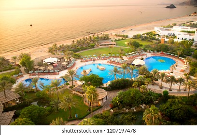 FUJAIRAH, UAE - October 2, 2018: Le Meridien Al Aqah Beach Resort - 5 stars hotel (218 spacious rooms) in Fujairah located on a 230m beach at Indian Ocean near Hajar Mountains. Beautiful sandy beach.