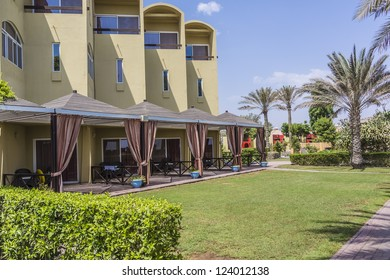 FUJAIRAH, UAE - SEP 26: 5 star Hilton Fujairah Resort (104 rooms) with numerous elements of Eastern culture located on shores of Indian Ocean near Hajar Mountains, Fujairah, UAE, on September 26, 2012