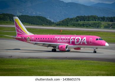 Fuji Dream Airlines JA03FJ before taking off from Mt. Fuji Shizuoka Airport, Shizuoka, Japan, June 16th 2019