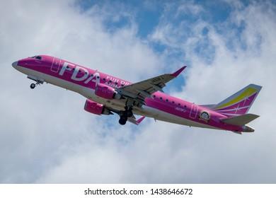 Fuji Dream Airlines JA03FJ taking off from Mt. Fuji Shizuoka Airport, Shizuoka, Japan, June 16th 2019