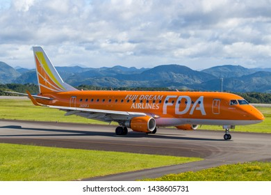 Fuji Dream Airlines JA05FJ before taking off from Mt. Fuji Shizuoka Airport, Shizuoka, Japan, June 16th 2019