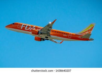 Fuji Dream Airlines JA05FJ just taking off from Mt. Fuji Shizuoka Airport, Shizuoka, Japan, June 16th 2019