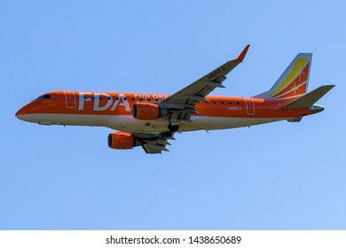 Fuji Dream Airlines JA05FJ taking off from Mt. Fuji Shizuoka Airport, Shizuoka, Japan, June 16th 2019