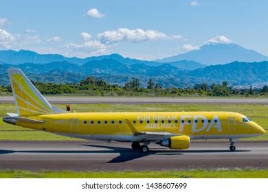 Fuji Dream Airlines JA07FJ before taking off from Mt. Fuji Shizuoka Airport, Shizuoka, Japan, June 16th 2019