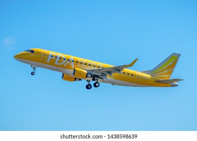 Fuji Dream Airlines JA07FJ just taking off from Mt. Fuji Shizuoka Airport, Shizuoka, Japan, June 16th 2019