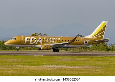 Fuji Dream Airlines JA09FJ before taking off from Mt. Fuji Shizuoka Airport, Shizuoka, Japan, May 5th 2019