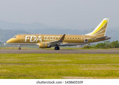 Fuji Dream Airlines JA09FJ just before taking off from Mt. Fuji Shizuoka Airport, Shizuoka, Japan, May 5th 2019