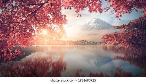 Fuji japan,mountain landscape,Fujisan mountain reflection on water with sunrise at kawaguchiko lake snow landscape,Japan autumn season located on Honshu Island, is the highest mountain in Japan