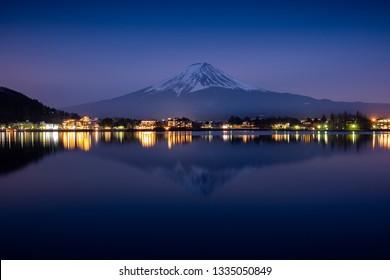 Fuji mount reflect on Kawaguchiko lake in sunset in Japan