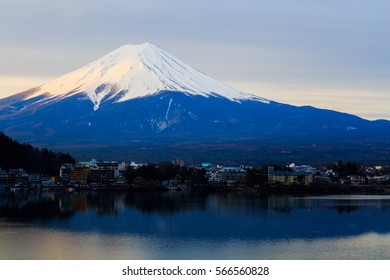 Fuji Mount with Snow on Top and Sunlight, Japan