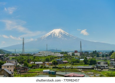 Fuji mountain with blue sky background is landmark of Japan. Most popular for tourist .