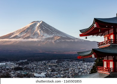 Fuji mountain and cityscape in the morning