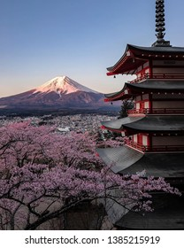 fuji mountain and japanese temple view