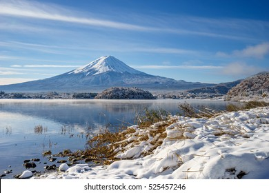 fuji mountain at kawaguchiko lake snow landscape in winter season,japan highest mountain,Tourist people call Mt. Fuji as Fuji, Fujisan, Fujiyama, Fuji-san,Japan