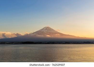 Fuji Mountain at Kawaguchiko Lake at sunset in Yamanashi, Japan.