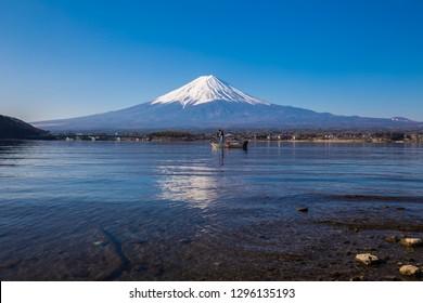 Fuji mountain and lake Kawaguchigo morning reflection nature landscape, Japan