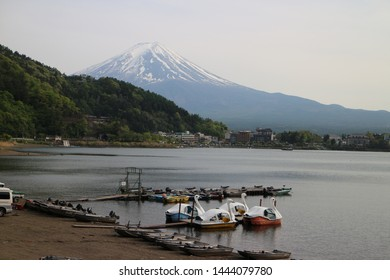 fuji mountain with lake and ship