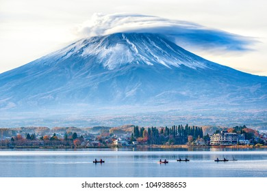 Fuji Mountain with Lenticular Cloud on Top at Kawaguchiko Lake in Autumn