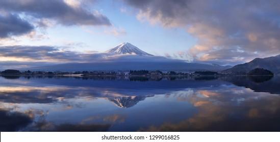 Fuji Mountain Morning on Kawaguchiko Panorama