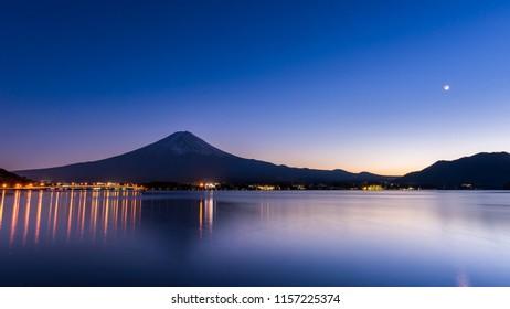 Fuji Mountain in night time at Kawaguchiko lake, Japan