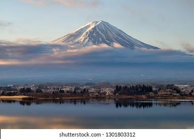 Fuji Mountain  on Lake Kawaguchi in The Morning