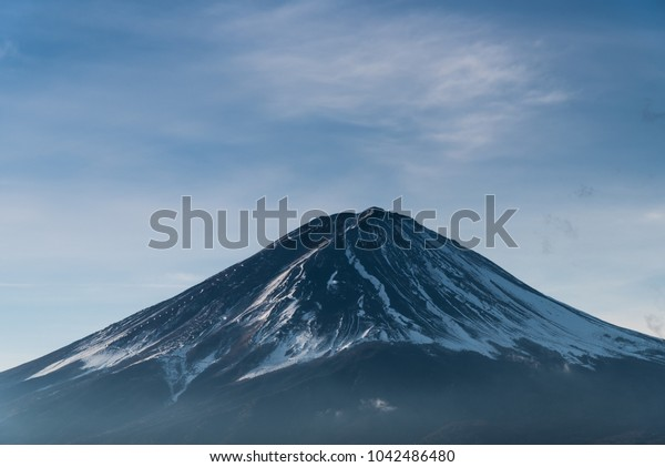 Fuji mountain peak with clear sky and cloud