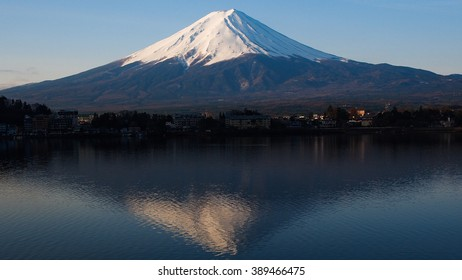 Fuji mountain with reflection on the lake