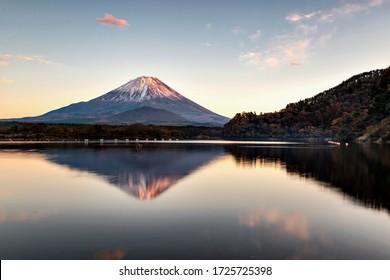 Fuji Mountain Reflection at Sunset, Lake Shoji, Japan
