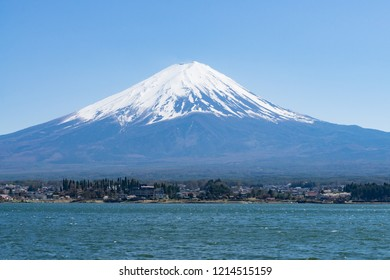 Fuji mountain with snow cover on the top with could. Locate near lake Kawaguchiko, Japan