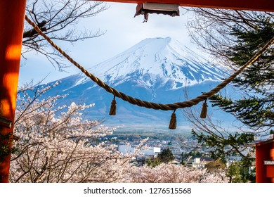 Fuji mountain from stair way at Chureito Red Pagoda Fujiyoshida, shimenawa enclosing rope leaning of cityscape view with pink full blooming sakura branches and clear sky in Japan.
