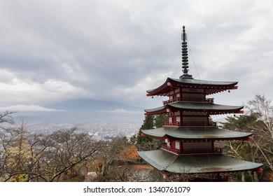 Fuji mountain view on the Chureito Pagoda.With fog.