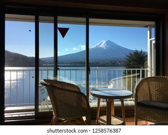 Fuji mountain view outside of Japanese ryokan room's window