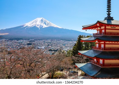 Fuji mountain view from temple