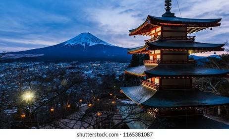Fuji Mountain in winter at Kawaguchiko,Japan