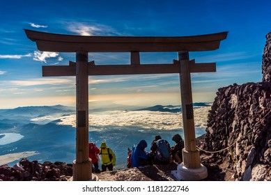 Fuji Mountain, Yamanashi, Japan – 8/26/2018 : Tourist climbing Fuji Mountain on yoshida trail.