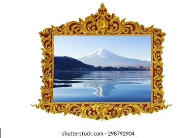 Fuji mt. in old antique gold frame Stucco walls greek culture roman vintage style pattern line design for border isolated on white background