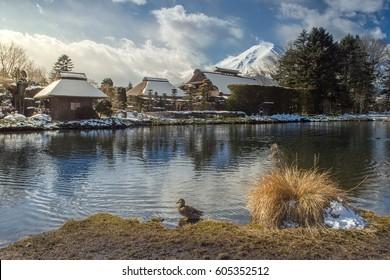 Fuji and Oshino Hakkai in winter season.
