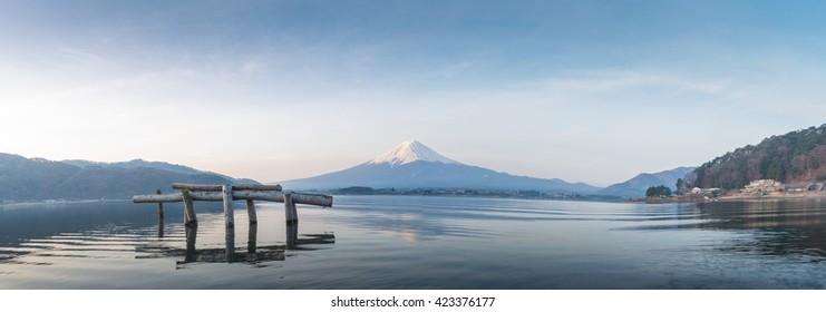 Fuji panorama from Kawakuchigo lake in the morning.