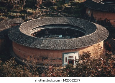 FUJIAN, CHINA – MARCH 2, 2018: Chuxi Tulou Cluster. Tulou is the unique traditional rural dwelling of Hakka.