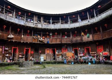 FUJIAN PROVINCE, CHINA – CIRCA MAY 2016: The Fujian tulou, the chinese rural dwelling unique to the Hakka minority in Fujian province.