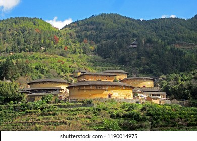 Fujian Tulou or Hakka Tulou at Tianluokeng, the most famous Earthen buildings (Chinese rural dwelling, Earth dwelling) in Fujian China. World heritage site. (Ancient Chinese Condominium / Apartment)