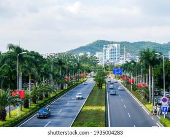 FUJIAN,CHINA 14 october 2020 - many cars on the Huandao south Road in Xiamen Island